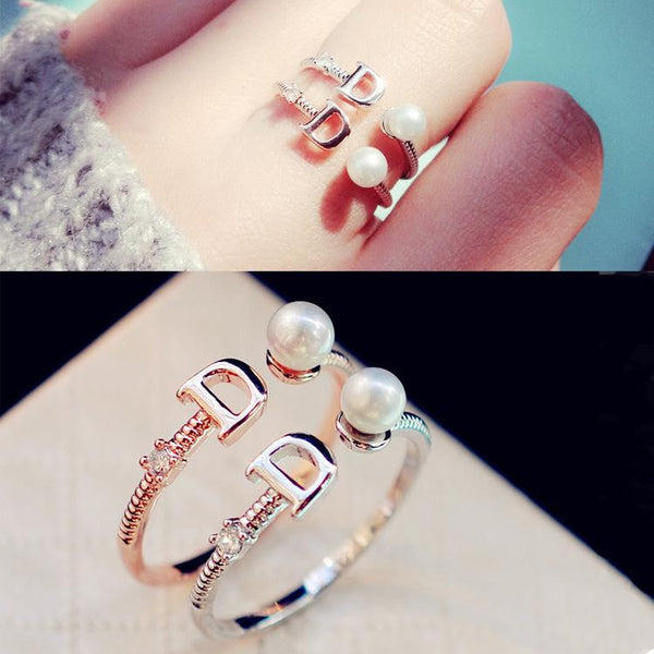 Zircon Letter Pearl Open Ring Silver Color