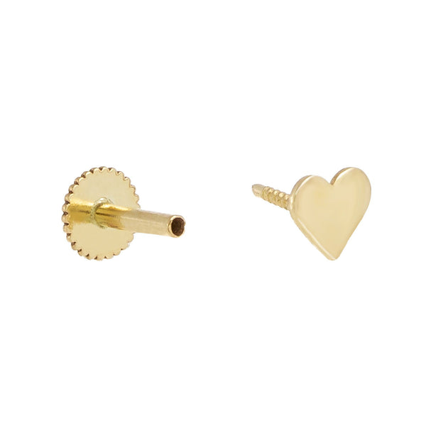 Solid Heart Threader Stud Earring 14K