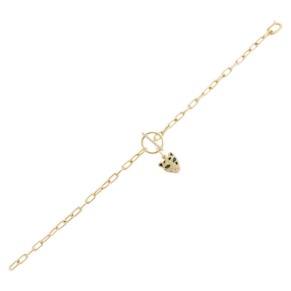 Diamond Panther Toggle Chain Bracelet 14K