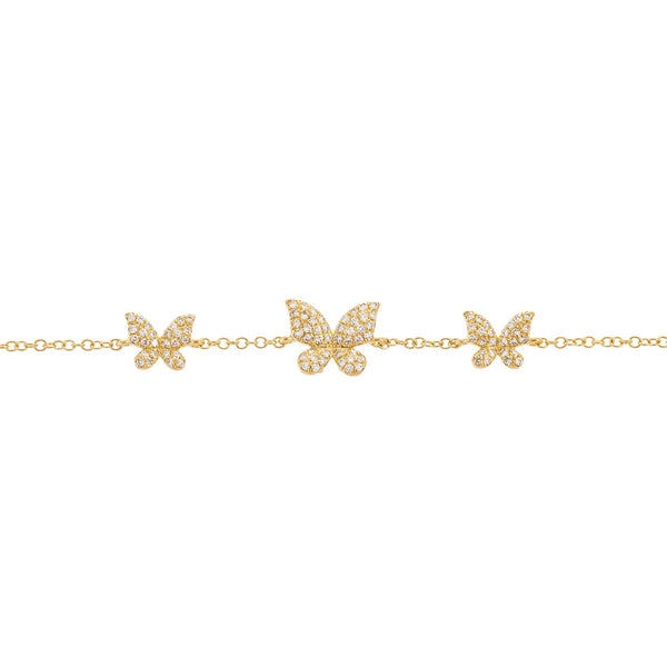 Diamond Triple Butterfly Bracelet 14K