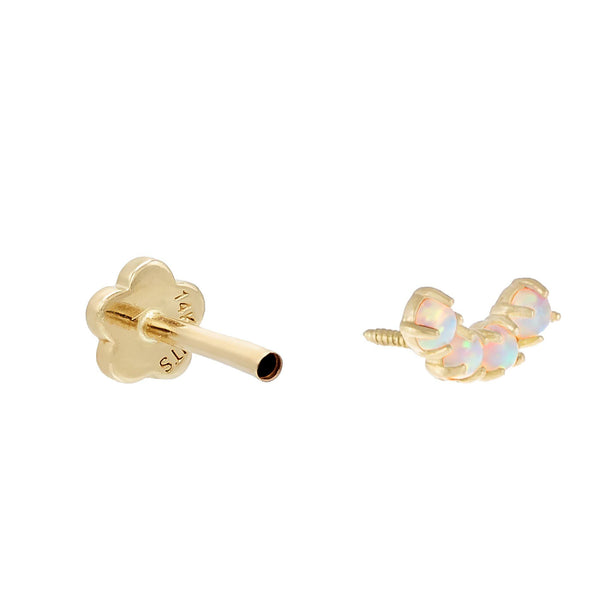 Opal Semi Circle Threaded Stud Earring 14K