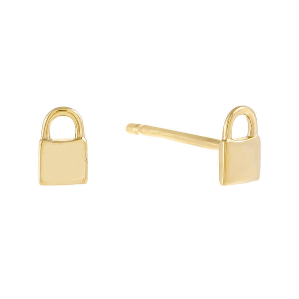 Tiny Solid Lock Stud Earring 14K