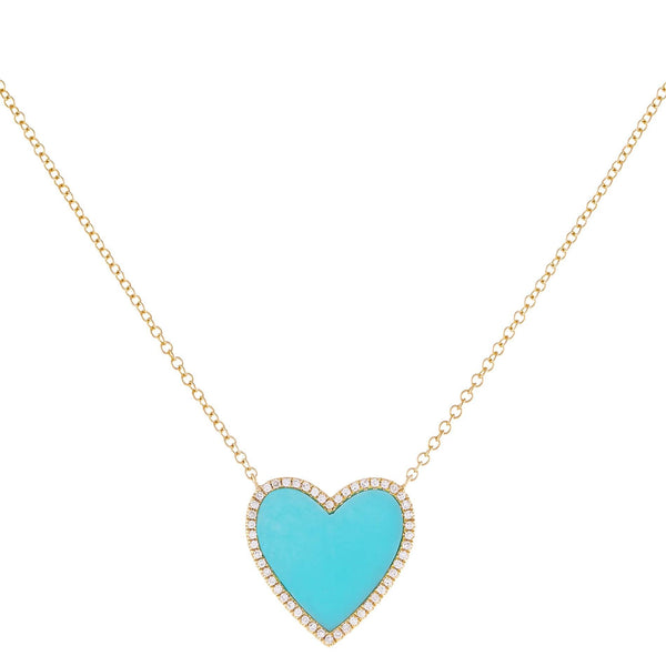 Diamond X Turquoise Heart Necklace 14K