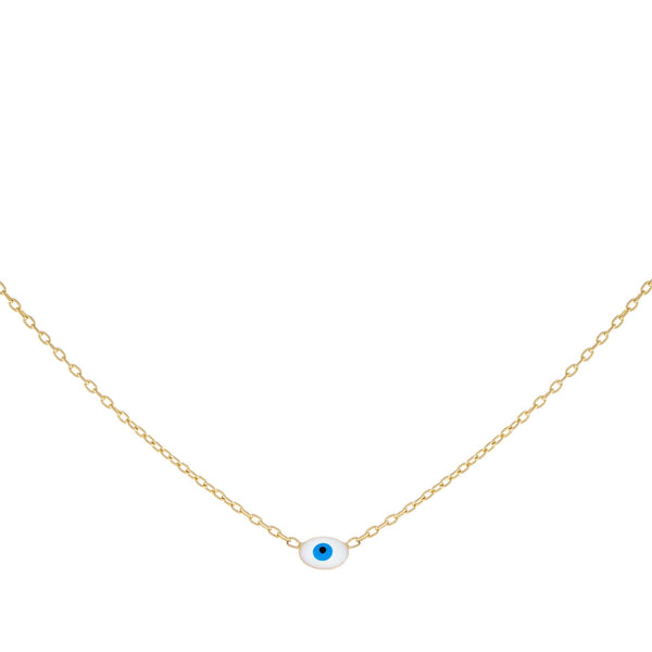Enamel Evil Eye Necklace 14K