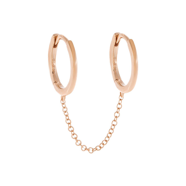 Solid Double Chain Huggie Earring 14K