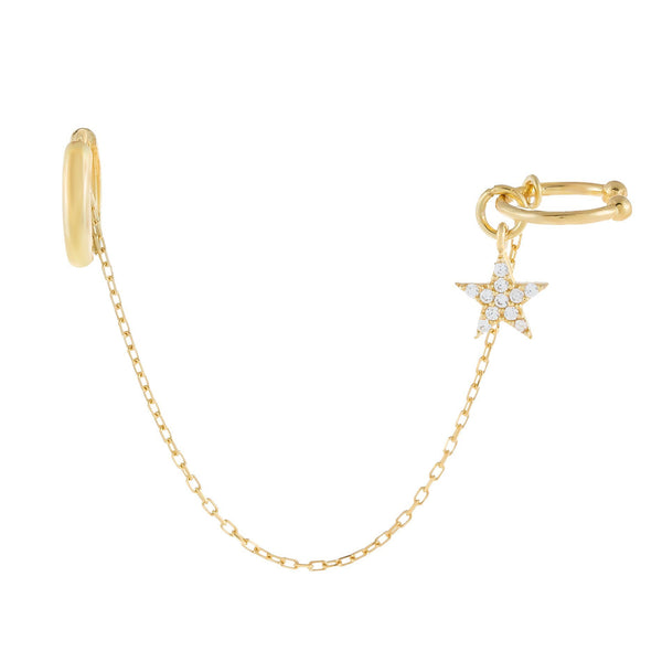 Pavé Dangling Star Chain Ear Cuff