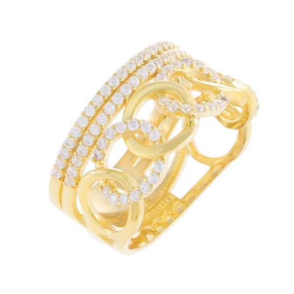 Pavé Illusion Stacked Chain Ring