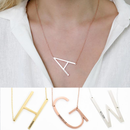 Engraved Alphabet A Initial Necklace 14k Gold Plated