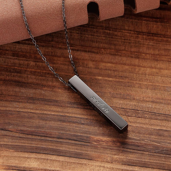 Men's Vertical 3D Bar Necklace with Engraving