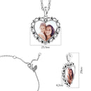Engraved Heart Photo Necklace Silver