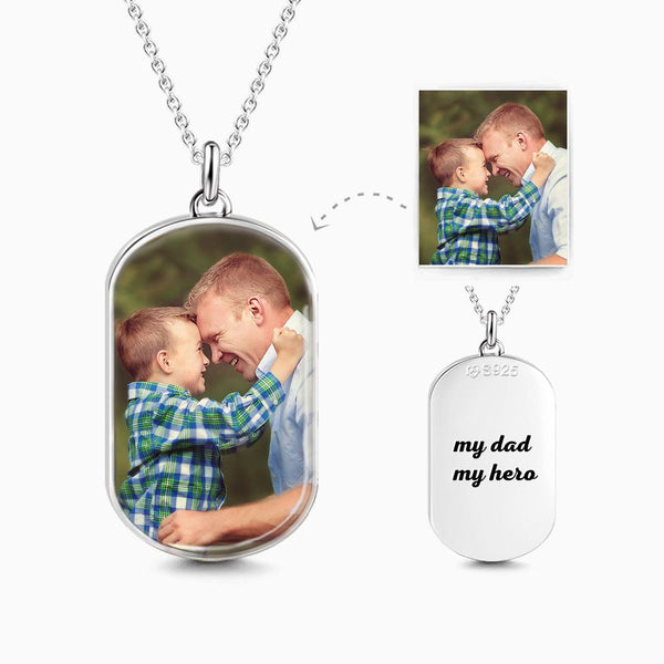 Engraved Oval Photo Necklace Silver