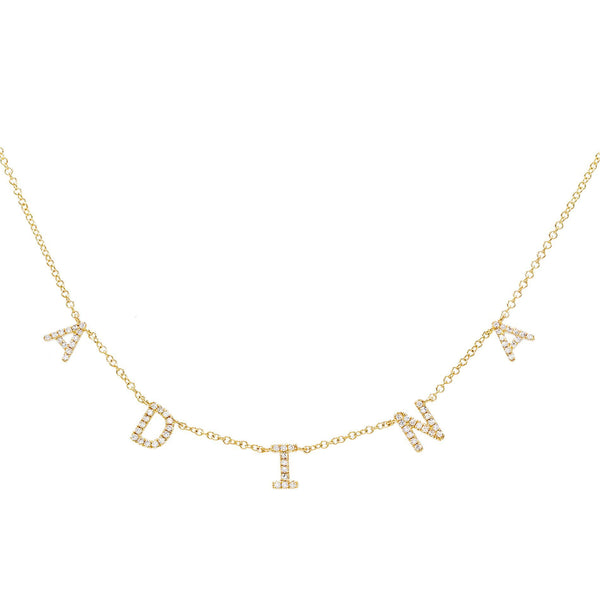Diamond Block Name Necklace 14K