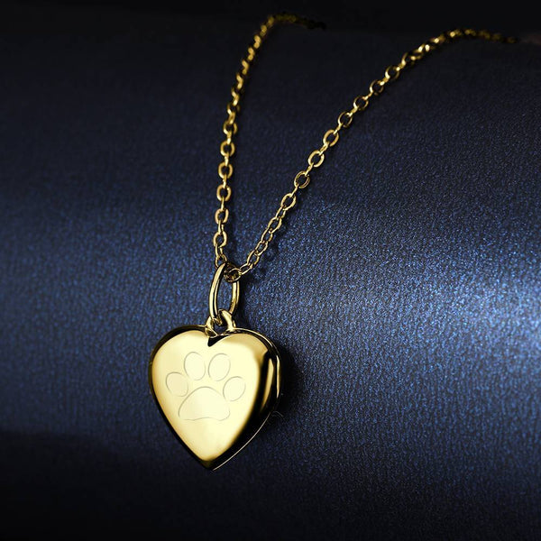 Pawprint Heart Engraved Photo Necklace 14k Gold Plated Silver