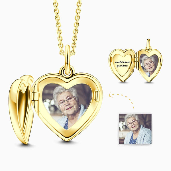 Heart Engraved Photo Locket Necklace 14k Gold Plated Silver