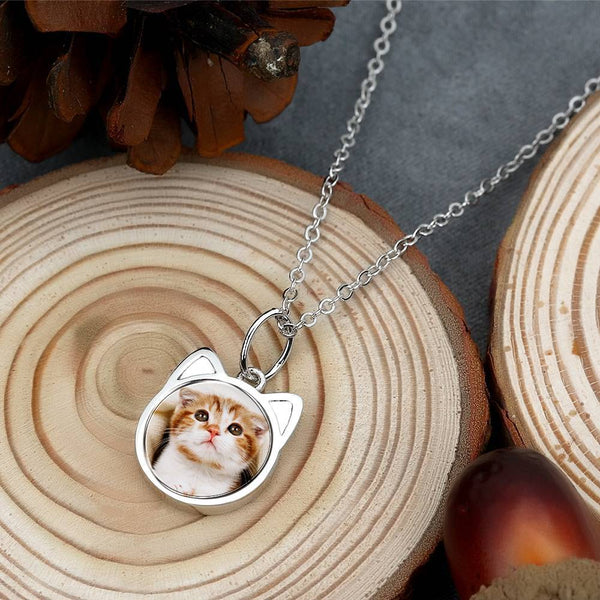 Cat Shaped Photo Necklace Silver