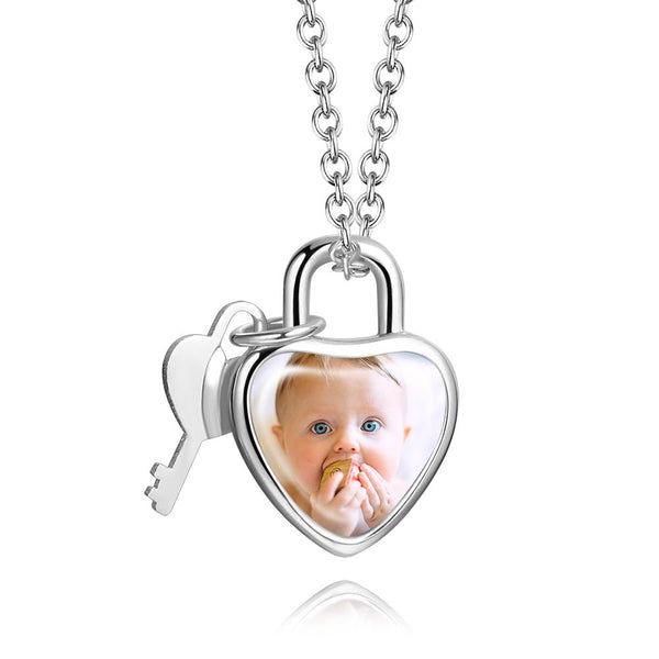 Custom Photo Heart Lock and Key Necklace with Engraving