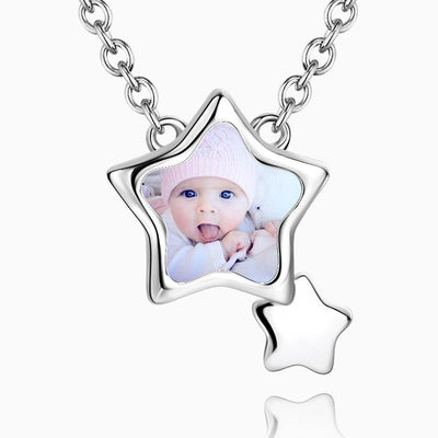 Stars Photo Necklace Silver