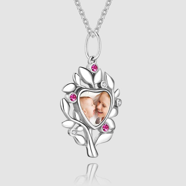 Family Tree Photo Necklace Silver