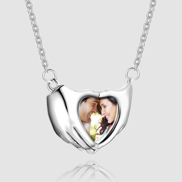 Fingers Heart Photo Necklace Silver