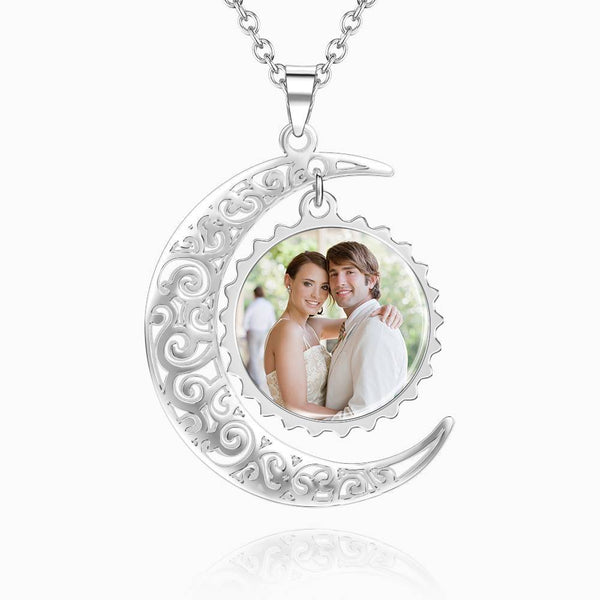 I Love You To The Moon And Back Photo Necklace Platinum Plated Silver
