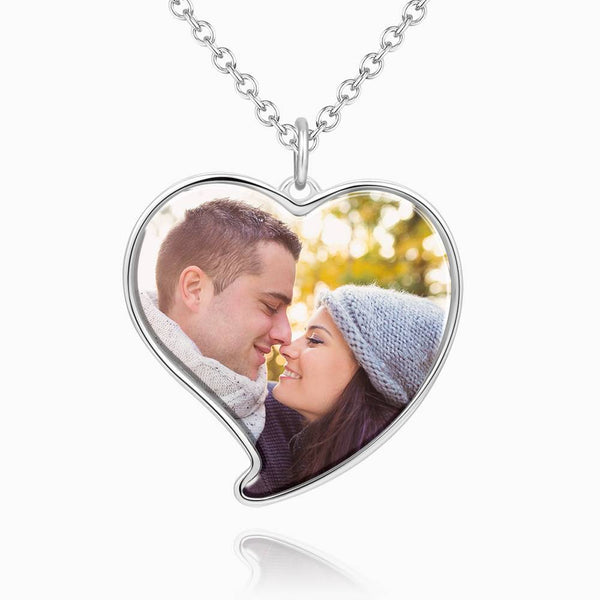 Heart Photo Necklace Platinum Plated Silver