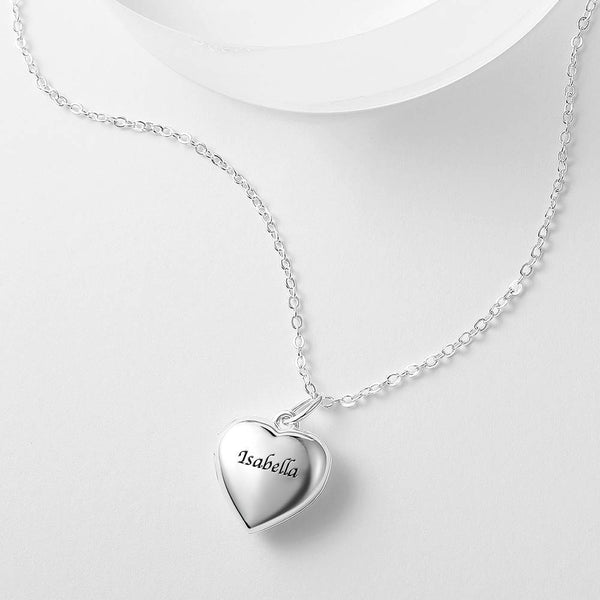 Personalized Gift Children's Heart Photo Locket Necklace with Engraving Silver