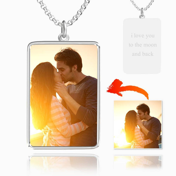 Engraved Rectangle Tag Photo Necklace Silver