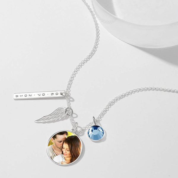 Engraved Round Tag Photo Necklace Silver