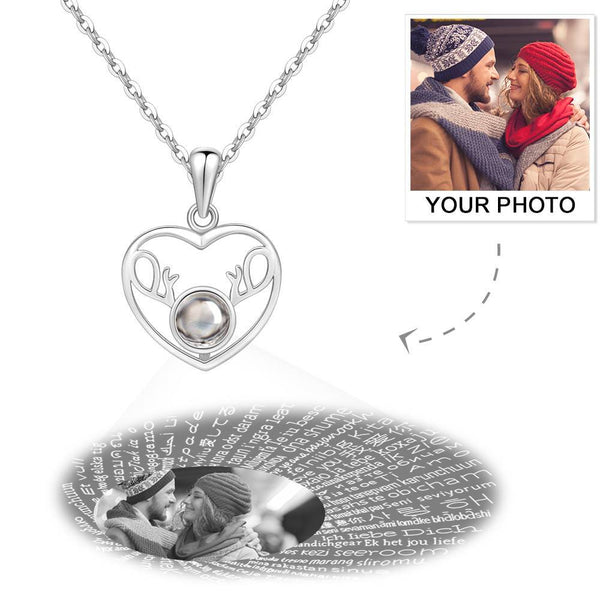 Personalized Projection 100 Languages Says I Love You Heart Photo Engraved Necklace Silver