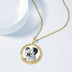 Men's Personalized Rhinestone Crystal Round Shape Photo Engraved Necklace 14 Gold Plated Golden - Sketch