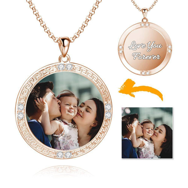 Men's Personalized Rhinestone Crystal Round Shape Photo Engraved Necklace Rose Gold Plated - Colorful