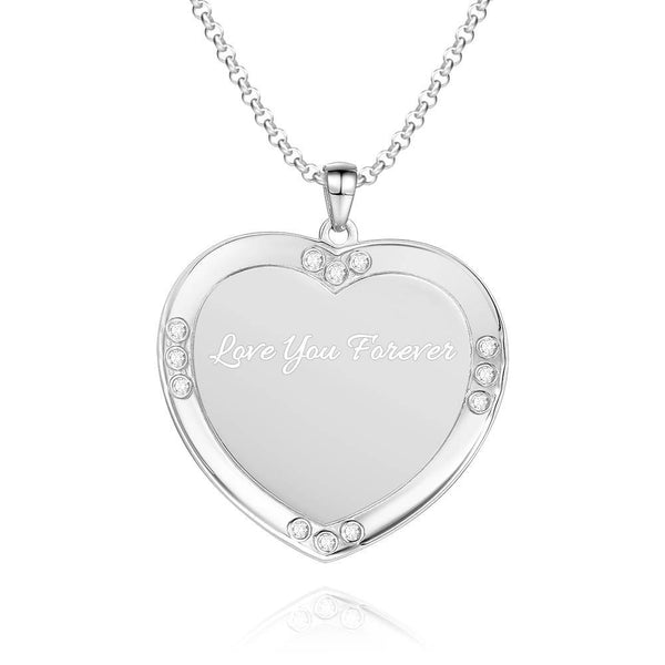 Men's Personalized Rhinestone Crystal Heart Shape Photo Engraved Necklace Platinum Plated Silver - Colorful