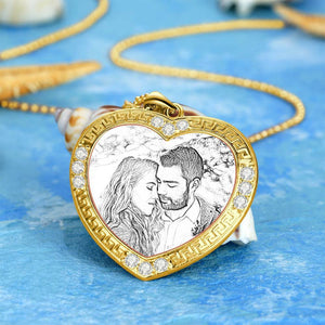 Men's Personalized Rhinestone Crystal Heart Shape Photo Engraved Necklace 14 Gold Plated Golden - Sketch