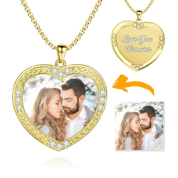 Men's Personalized Rhinestone Crystal Heart Shape Photo Engraved Necklace 14 Gold Plated Golden - Colorful