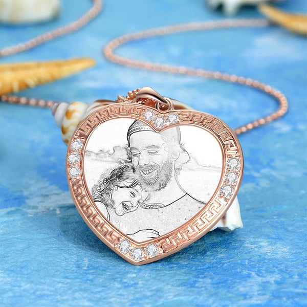 Men's Personalized Rhinestone Crystal Heart Shape Photo Engraved Necklace Rose Gold Plated - Sketch