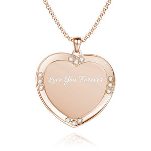 Men's Personalized Rhinestone Crystal Heart Shape Photo Engraved Necklace Rose Gold Plated - Colorful
