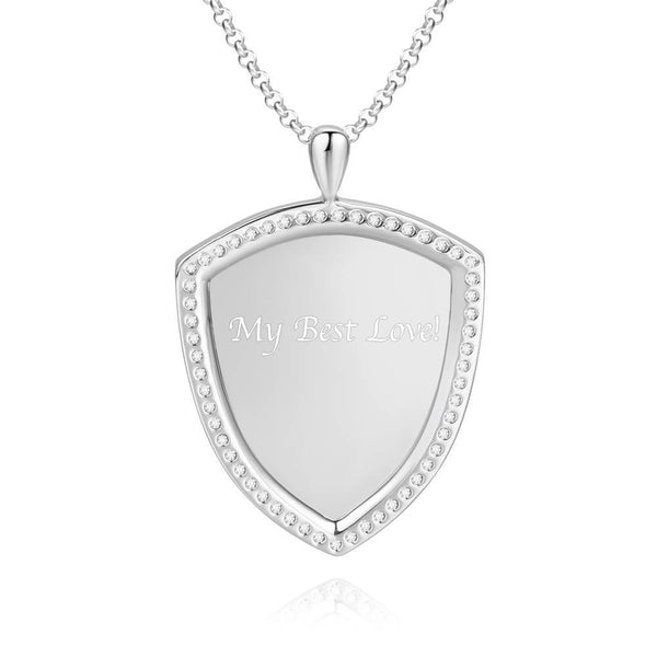Women's Personalized Rhinestone Crystal Shield Shape Engraved Photo Necklace Platinum Plated Silver - Sketch