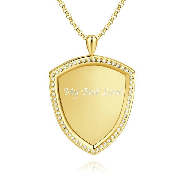 Women's Personalized Rhinestone Crystal Shield Shape Engraved Photo Necklace 14K Gold Plated Golden - Sketch