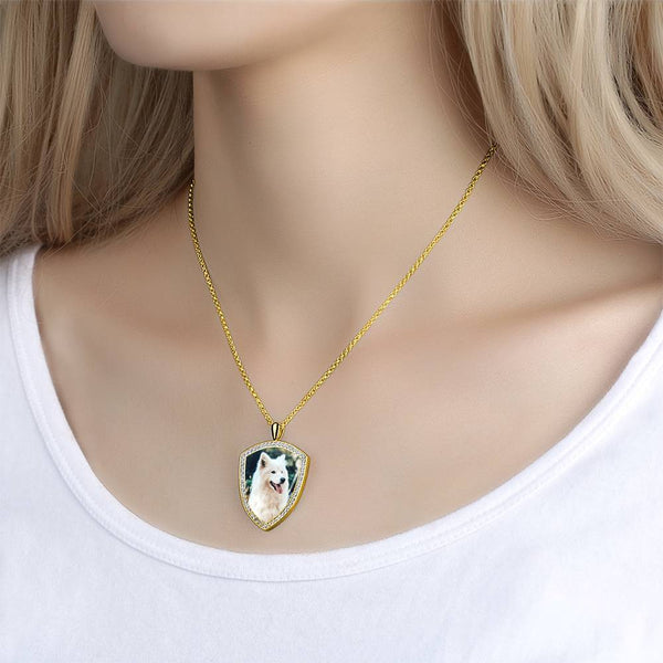 Women's Personalized Rhinestone Crystal Shield Shape Engraved Photo Necklace 14K Gold Plated Golden - Colorful