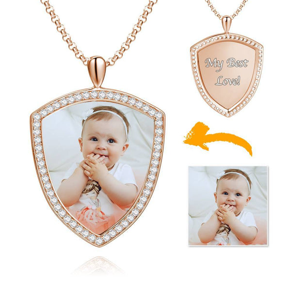 Women's Personalized Rhinestone Crystal Shield Shape Photo Engraved Necklace Rose Gold Plated - Colorful