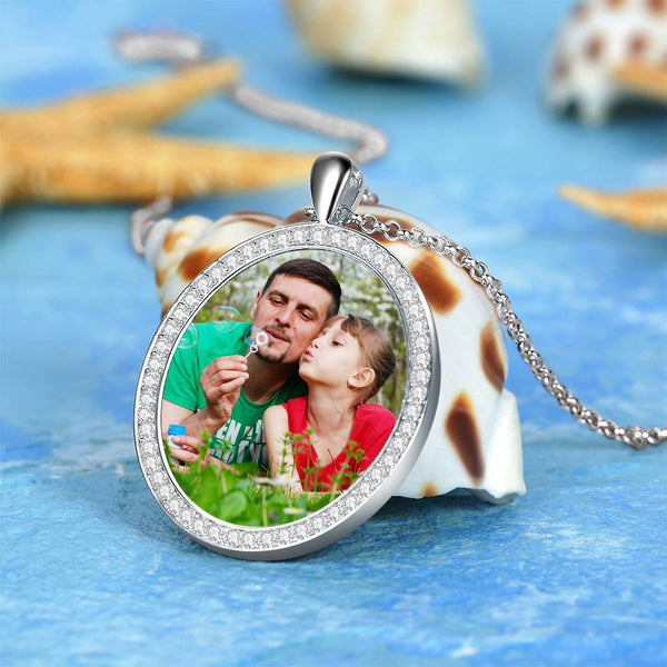 Women's Engraved Personalized Rhinestone Crystal Shield Shape Photo Necklace Platinum Plated Silver - Colorful