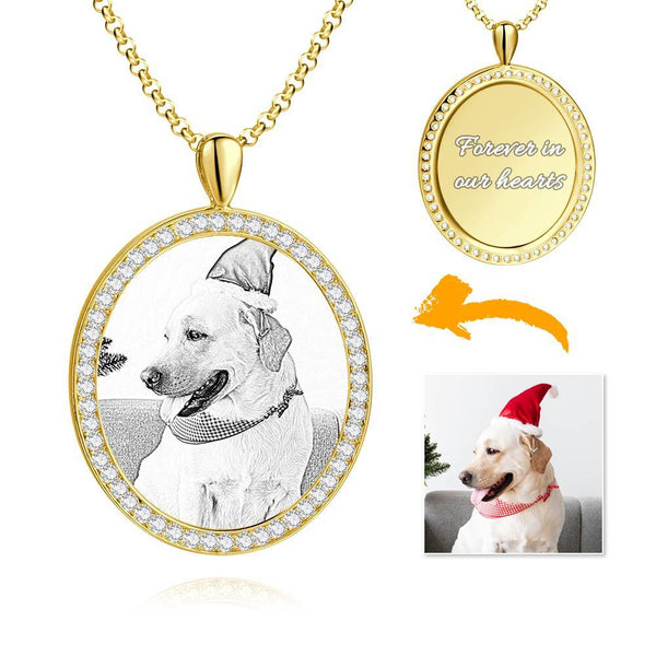 Women's Engraved Personalized Rhinestone Crystal Shield Shape Photo Necklace 14K Gold Plated Golden - Sketch