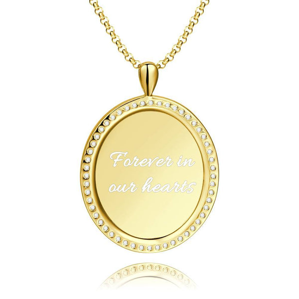Women's Engraved Personalized Rhinestone Crystal Shield Shape Photo Necklace 14K Gold Plated Golden - Colorful