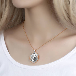 Women's Personalized Rhinestone Crystal Oval Shape Photo Engraved Necklace Rose Gold Plated - Sketch