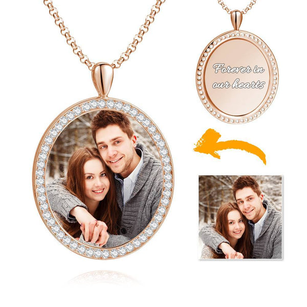 Women's Personalized Rhinestone Crystal Oval Shape Photo Engraved Necklace Rose Gold Plated - Colorful
