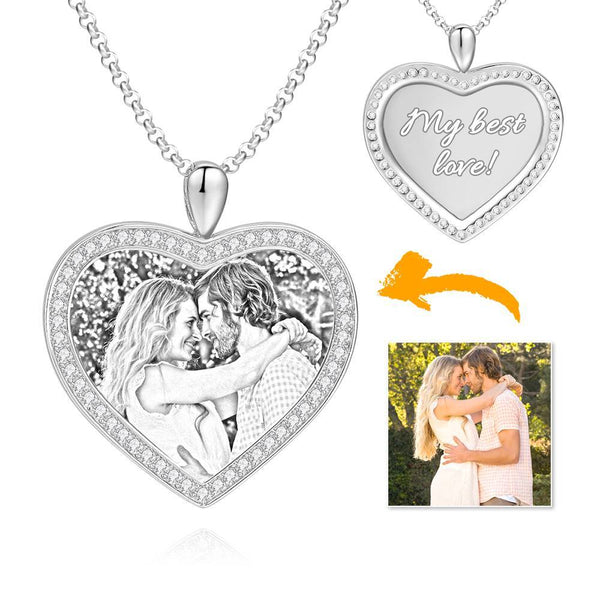 Women's Personalized Rhinestone Crystal Heart Shape Photo Engraved Necklace Platinum Plated Silver - Sketch
