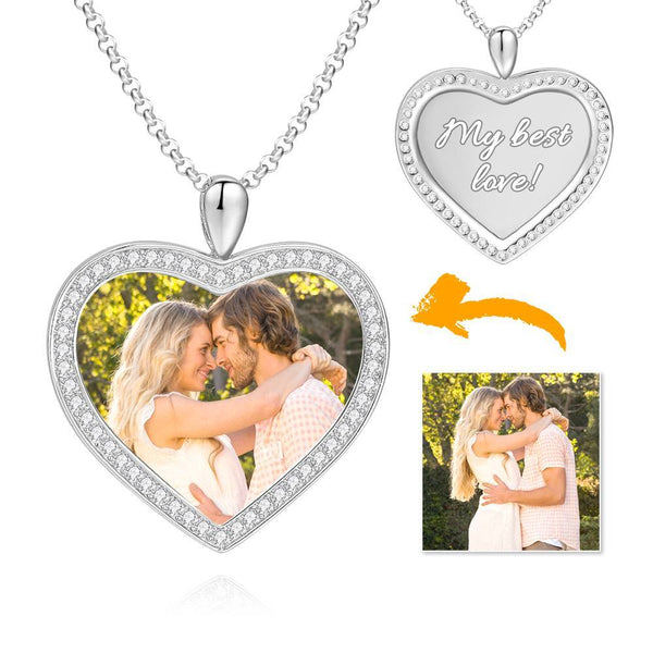 Women's Personalized Rhinestone Crystal Heart Shape Photo Engraved Necklace Platinum Plated Silver - Colorful