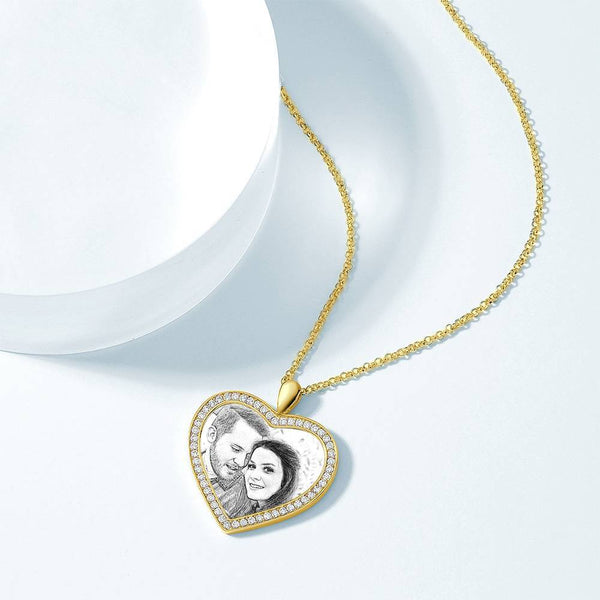 Women's Personalized Rhinestone Crystal Heart Shape Photo Engraved Necklace 14K Gold Plated Golden - Sketch