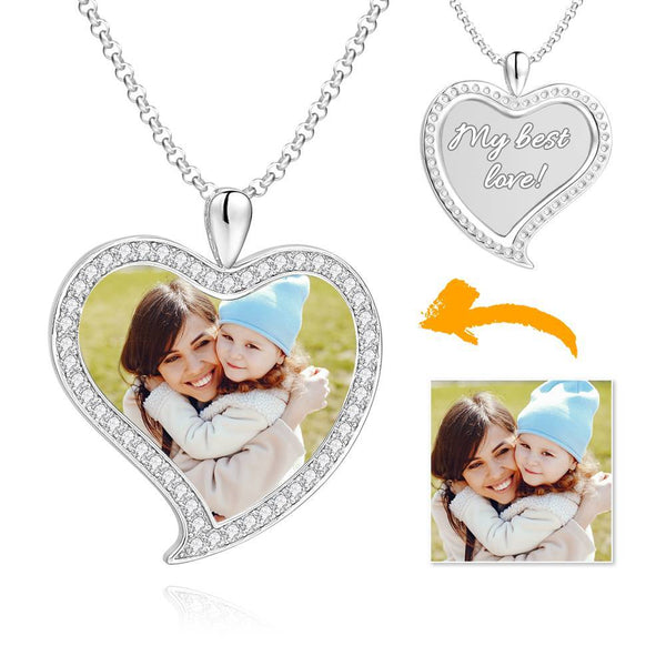 Women's Personalized Rhinestone Crystal Love Heart Shape Photo Engraved Necklace Platinum Plated Silver - Colorful