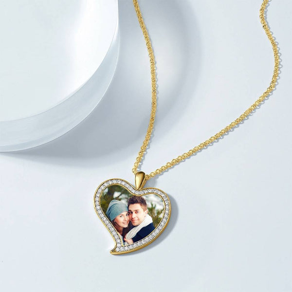 Women's Personalized Rhinestone Crystal Love Heart Shape Photo Engraved Necklace 14K Gold Plated Golden - Colorful